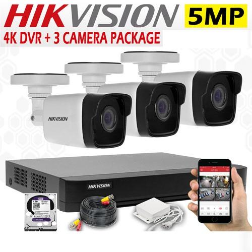 5MP CCTV 3 Cameras + 4K Lite DVR
